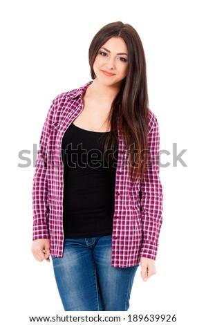 Portrait of happy beautiful girl, isolated on white background - stock photo