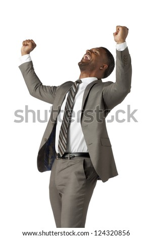 Portrait of happy black businessman against white background - stock photo
