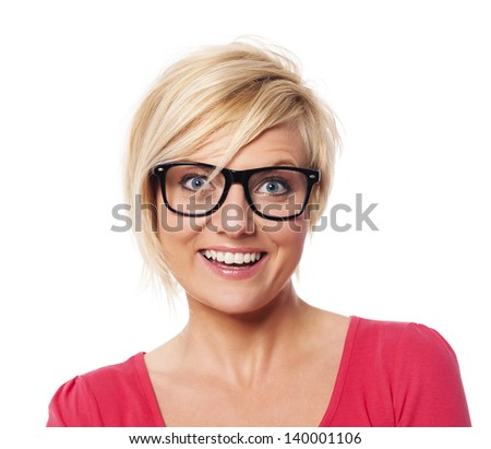 Portrait of happy blonde woman - stock photo
