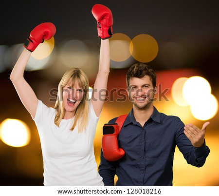 Portrait Of Happy Boxing Couple, Outdoors - stock photo