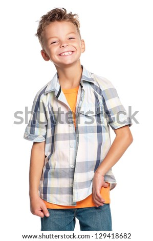 Portrait of happy boy, isolated on white background