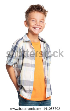 Portrait of happy boy isolated on white background