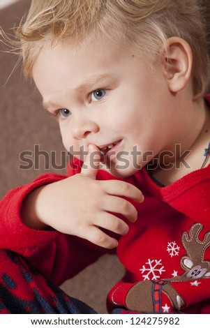Portrait of Happy Boy looking away - stock photo