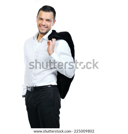 Portrait of happy business man, isolated on white background - stock photo