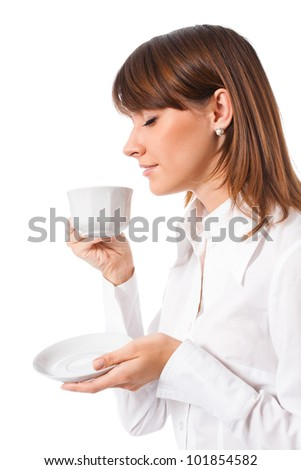 Portrait of happy business woman drinking coffee, isolated over white background