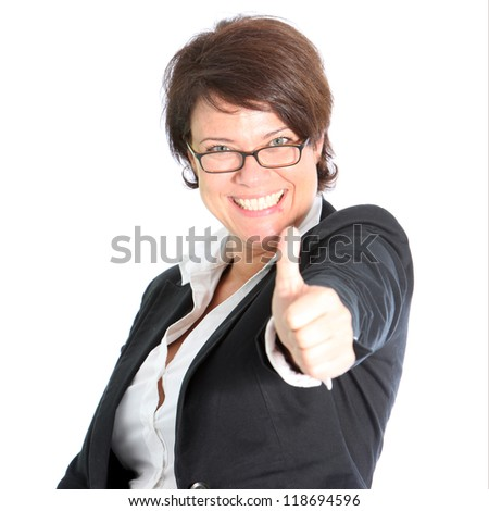 Portrait of happy business woman showing thumbs up sign - stock photo