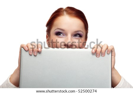 Portrait of happy  business woman with a laptop.