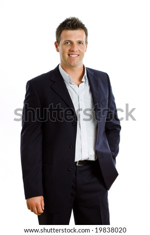 Portrait of happy businessman, smiling, isolated on white
