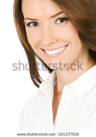 Portrait of happy businesswoman, isolated against white background - stock photo
