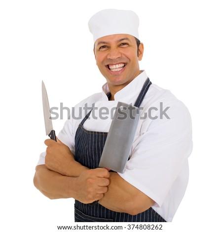 portrait of happy butcher holding knives - stock photo