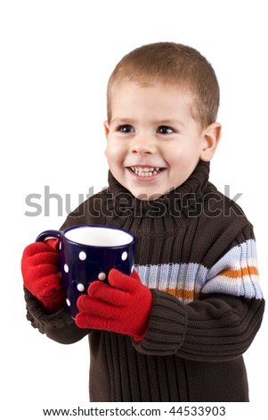 Portrait of happy  child holding cup of hot tea, isolated in white background