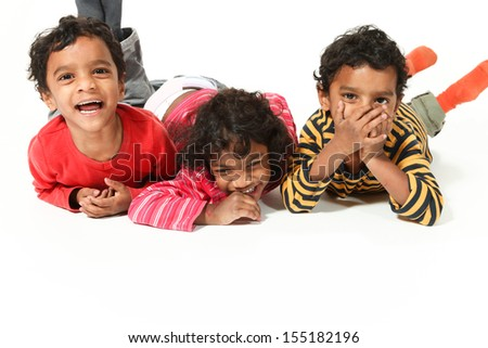 portrait of happy children Indian, white background  - stock photo