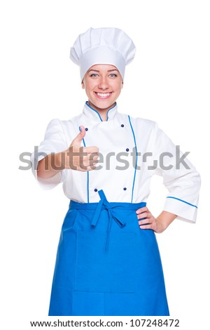 portrait of happy cook showing thumbs up. isolated on white background