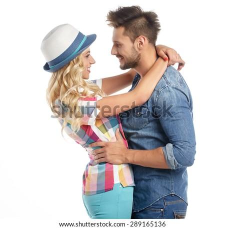 Portrait of happy couple isolated on white background.  - stock photo