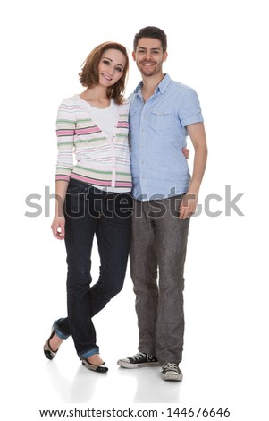 Portrait Of Happy Couple Isolated Over White Background - stock photo