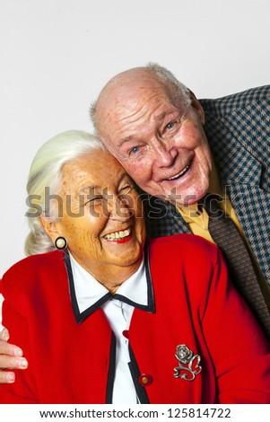 portrait of happy elderly couple enjoying  life - stock photo