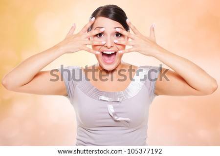 portrait of happy emotional woman - stock photo