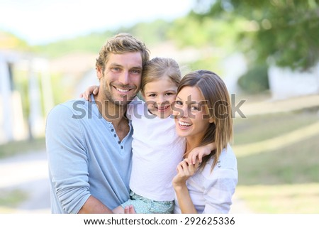 Portrait of happy family having fun together - stock photo