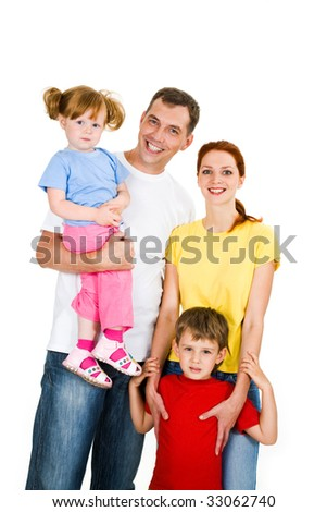 Portrait of happy family isolated on a white background - stock photo
