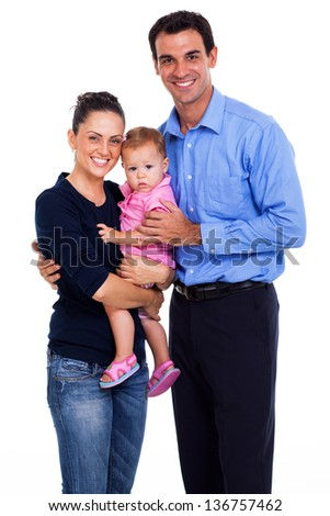 portrait of happy family of three isolated on white - stock photo