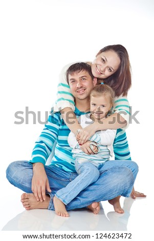 Portrait of happy  family smiling together on white background - stock photo