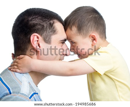 Portrait of happy father and his adorable son - stock photo