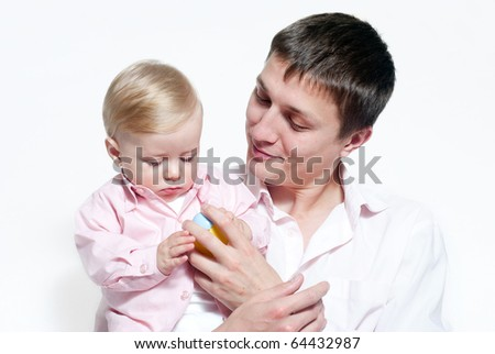 Portrait of happy father and his baby - stock photo