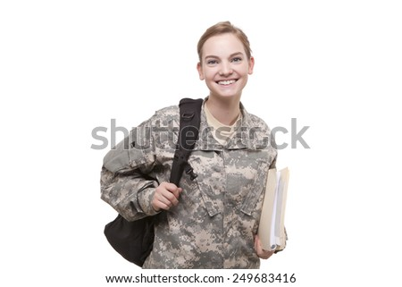 Portrait of happy female soldier with backpack and file - stock photo