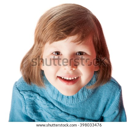 Portrait of Happy five years girl smiling isolated on white - stock photo