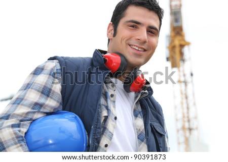 Portrait of happy foreman - stock photo