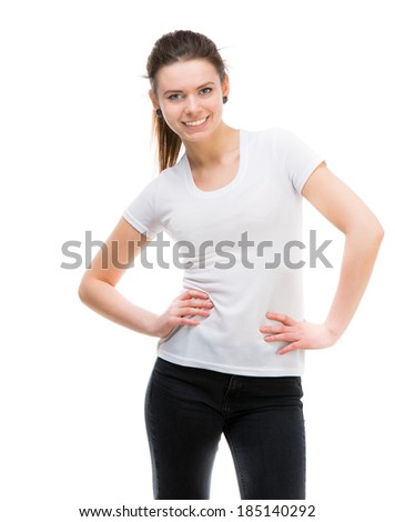 portrait of happy girl in white t-shirt and and black trousers isolated on white background - stock photo