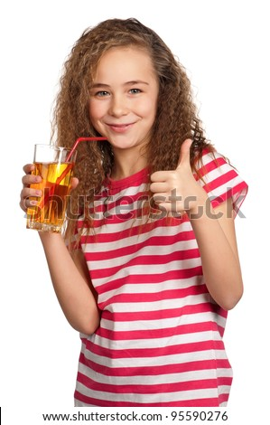 Portrait of happy girl with apple juice isolated on white background - stock photo