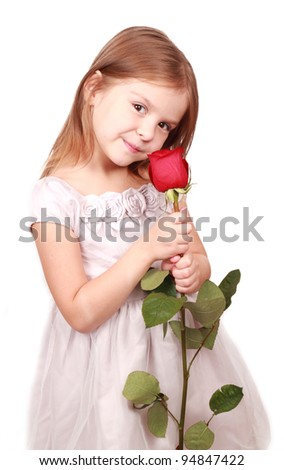 Portrait of happy girl with big red saturated rose over white background/little girl with red rose - stock photo