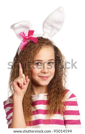 Portrait of happy girl with bunny ears isolated on white background