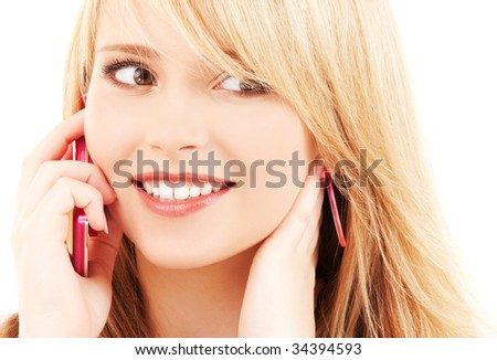 portrait of happy girl with pink phone - stock photo