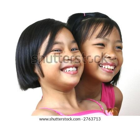 Portrait of happy girls. - stock photo
