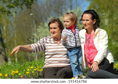 Portrait of happy grandmother, daughter and granddaughter outdoors - stock photo