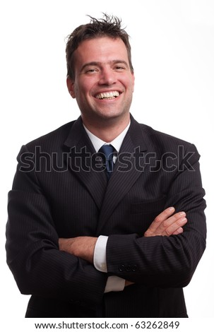 Portrait of happy handsome smiling businessman, isolated on white