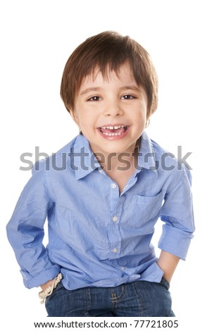 Portrait of happy joyful beautiful child isolated on white background - stock photo