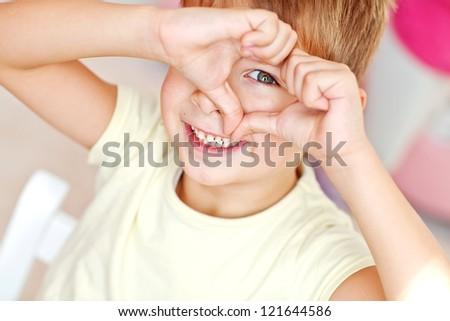 Portrait of happy joyful beautiful little boy - stock photo