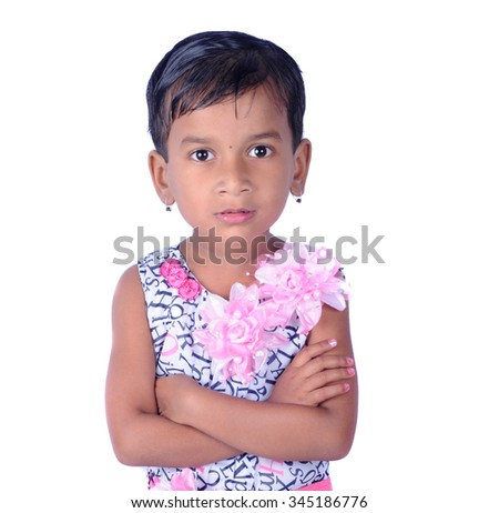 Portrait of happy joyful beautiful little girl isolated on white background - stock photo