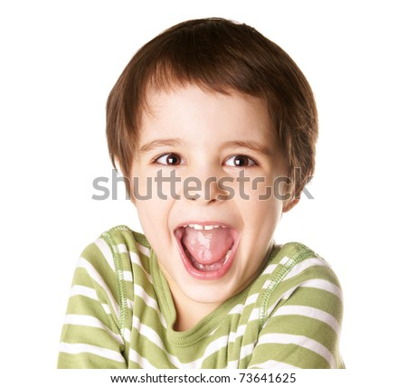 Portrait of happy joyful little boy isolated on white background - stock photo