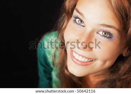 Portrait of happy joyful young friendly woman - stock photo