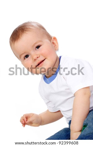 Portrait of happy kid over white background