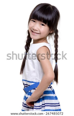 Portrait of happy little Asian child isolated on white background
