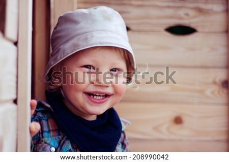Portrait of happy little boy - stock photo
