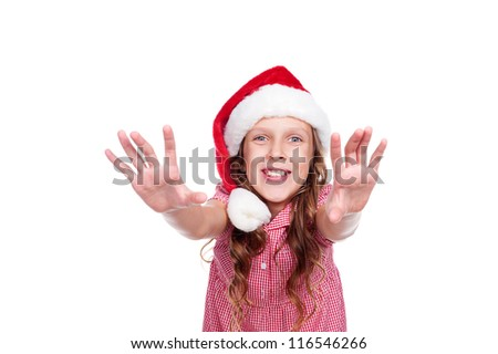 portrait of happy little girl in santa hat. isolated on white background - stock photo