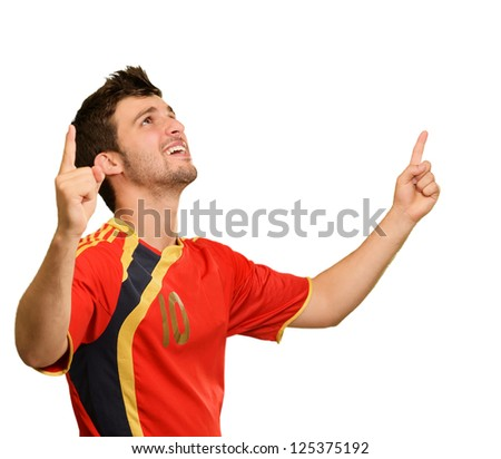 Portrait Of Happy Male Player On White Background - stock photo