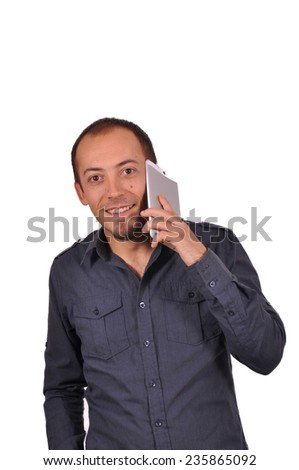 Portrait of happy man calling by mobile - stock photo
