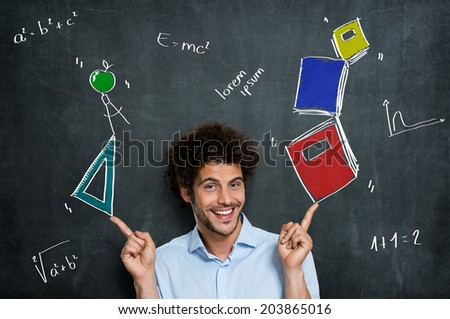 Portrait Of Happy Man Student With Books And Algebra Items Over A Blackboard - stock photo